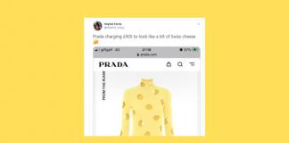 Prada's yellow sweater
