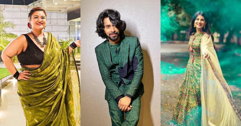 green Navratri outfit